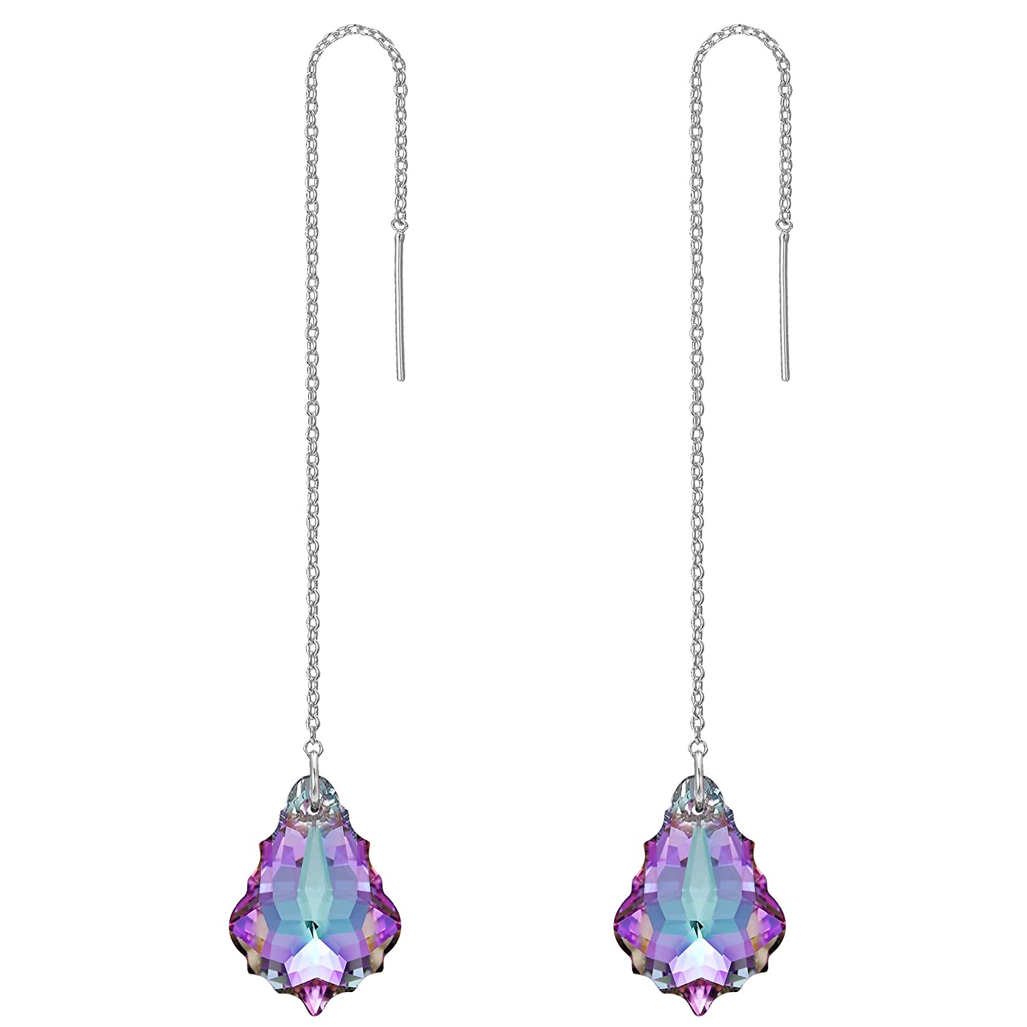 FANZE Women's Gold-Tone Long Baroque Drop Threader Slide Earrings Made with Swarovski Crystal
