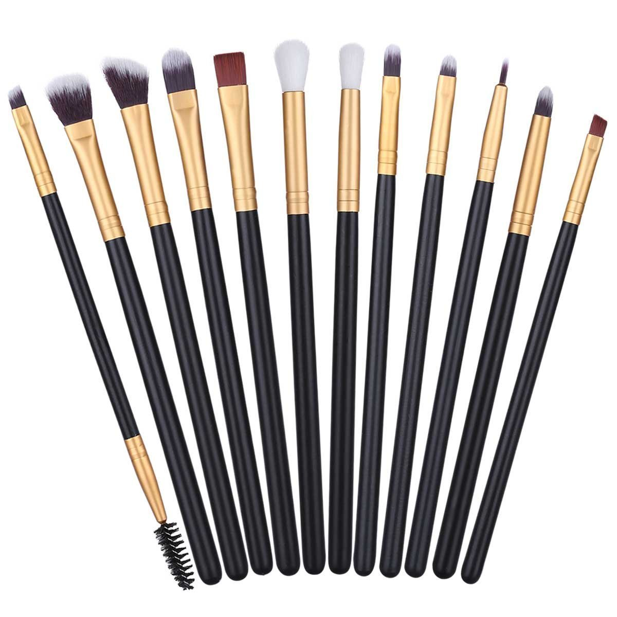 12Pcs Eye Makeup Brushes Professional Eye Brush Set for Shading or Blending of Eyeshadow Crease Powder Eyebrow Eyeliner Highlighter Brush Essential Concealer Cosmetics Brush Tool BTYMS