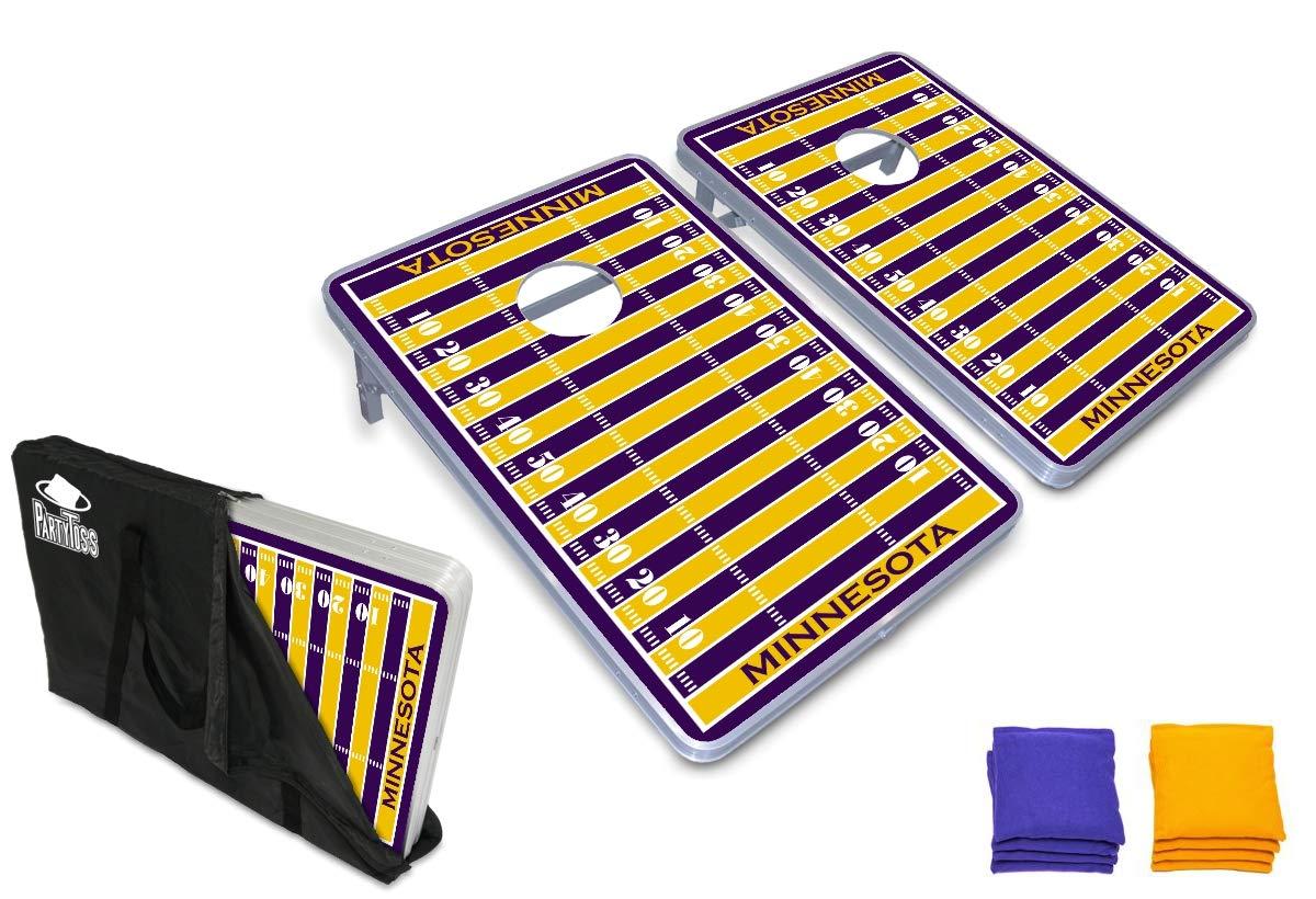 PartyPongTables.com ミネソタ フットボール 3フィート x 2フィート アルミニウム コーンホールゲームセット - LEDライト- 頑丈なアルミフレーム - 厚いボード面 B07HD2GD94  ベースモデル