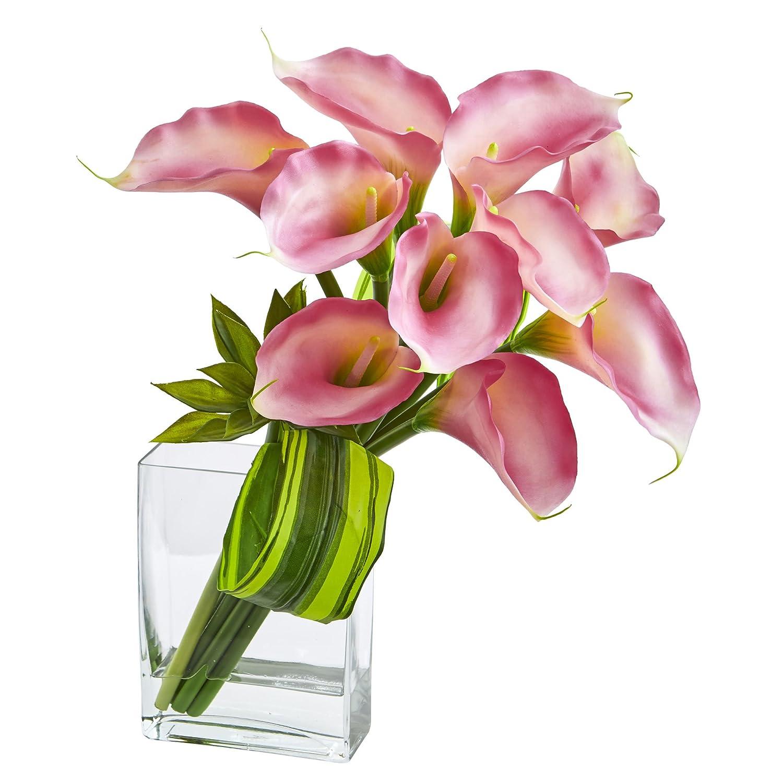 ほぼ自然Calla Lily and Succulentブーケ、20インチ、ピンク B078TTS5GH