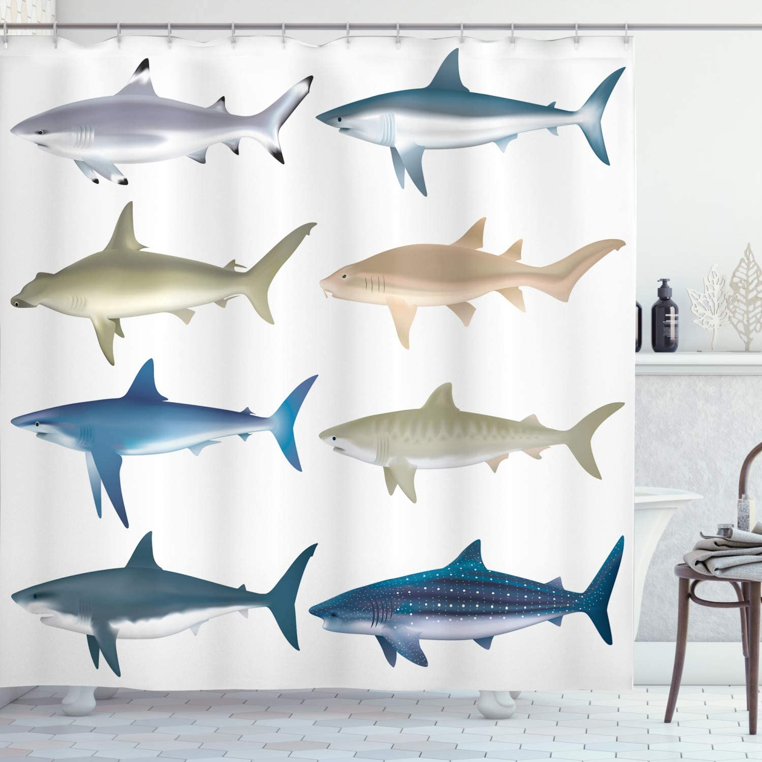 Orange Green Pop Art Fish with Shark Fin Camouflage Cheat Humor Strategy Beware Theme 70 Inches Ambesonne Sea Animal Decor Shower Curtain by Fabric Bathroom Decor Set with Hooks