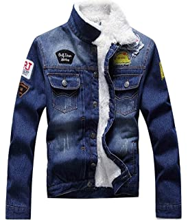 a9fb6bfbbc42 LifeHe Men s Winter Fleece Lined Fur Collar Patches Denim Jacket ...