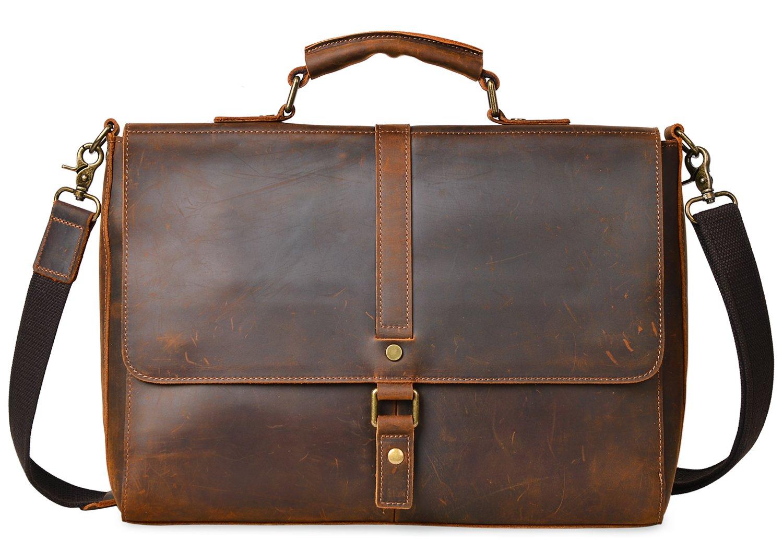 ALTOSY Vintage Genuine Leather Business Laptop Briefcase Office Shoulder Bag 8127 (Brown) by Altosy (Image #1)