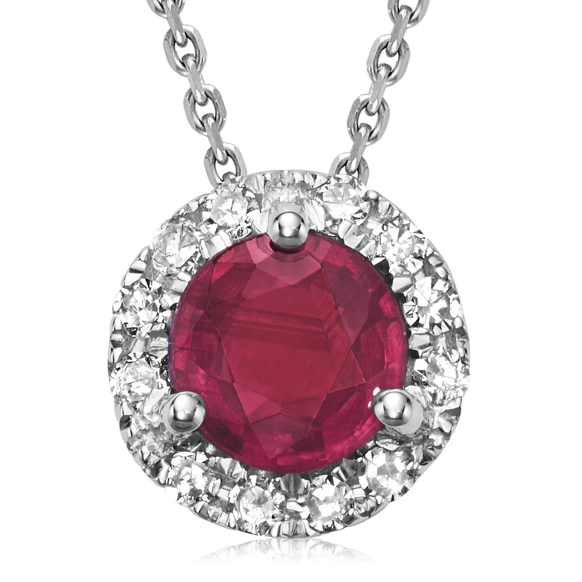 10K Gold Diamond and Ruby Martini cup Pendant (0.04TDW H-I Color,I1 Clarity) 18'' Cable Chain (ruby)