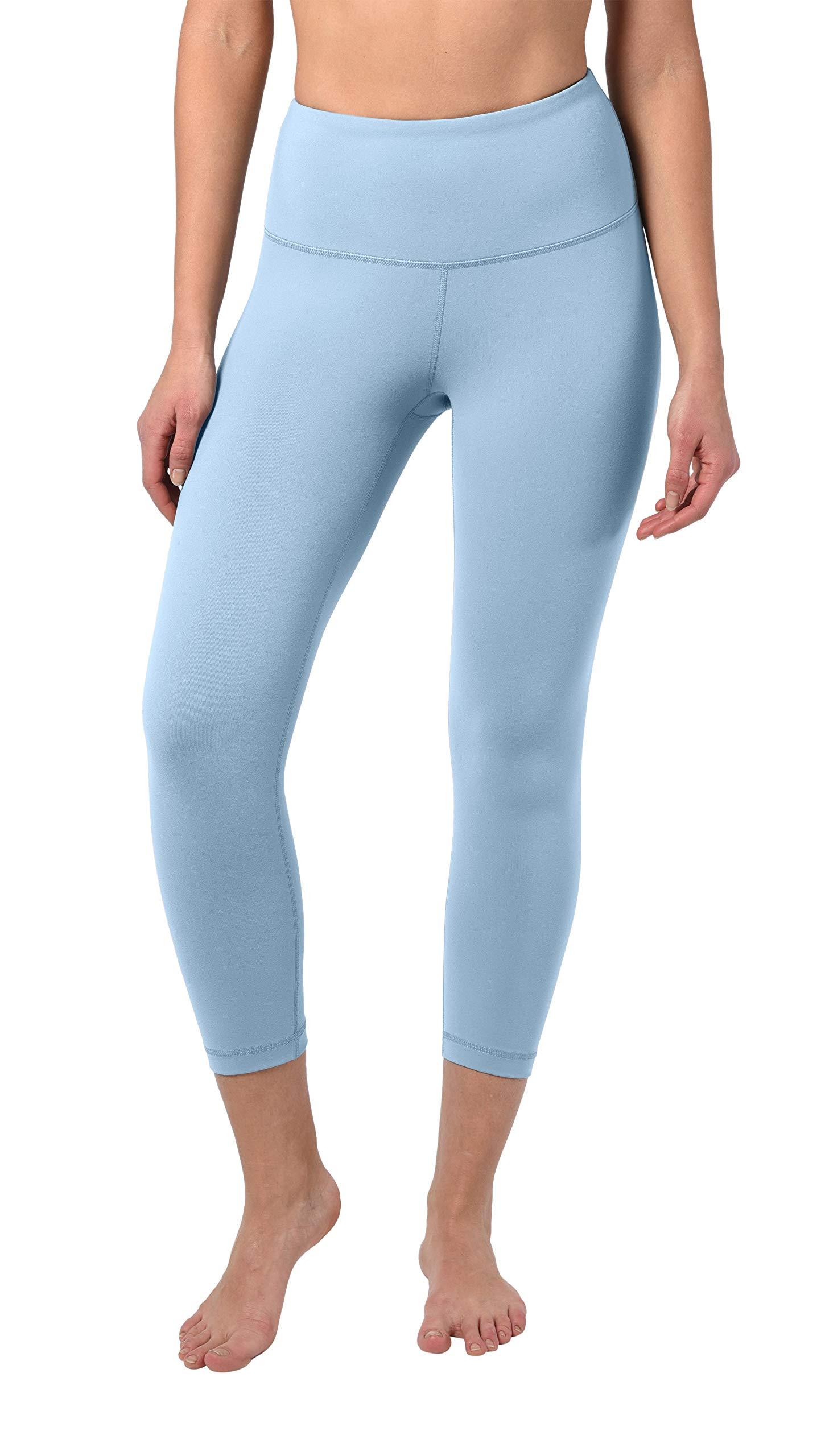 90 Degree By Reflex - High Waist Tummy Control Shapewear - Power Flex Capri - Powder Blue - Large by 90 Degree By Reflex