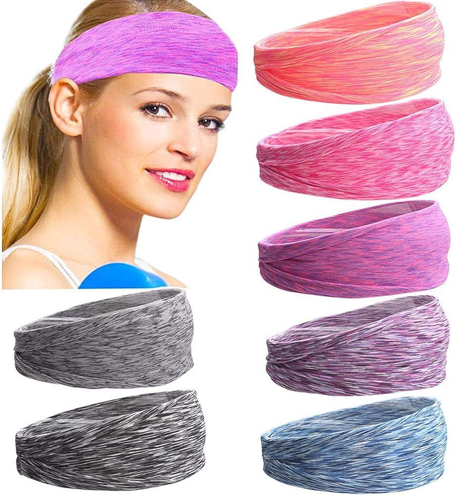Prosflyous 7PACK Workout Headbands for Women, Sport Travel Fitness Athletic Headbands .Hair Headbands for Women and Men, (7 PCS Headbands)