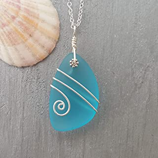 """product image for Handmade in Hawaii, A LARGER piece wire wrapped turquoise bay blue sea glass necklace,""""December Birthstone"""", (Hawaii Gift Wrapped, Customizable Gift Message)"""