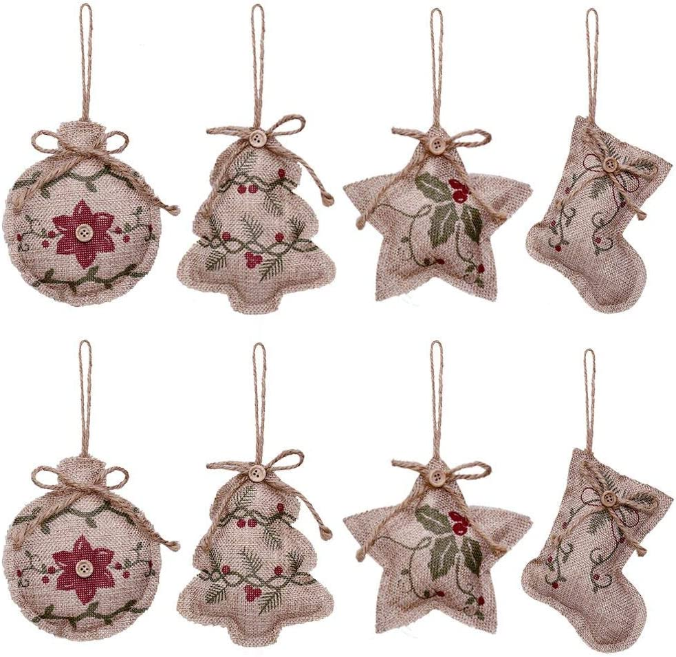 YOSICHY 2019 Rustic Christmas Tree Ornaments Stocking Decorations Burlap Country Christmas Stocking Ball Tree Bell with Red and Green Holly Leaves for Holiday Party Decor-8PCS