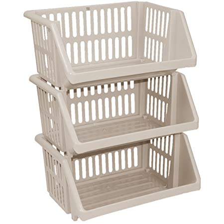 CrazyGadget® Multi Purpose Large Plastic Colour Storage Rack Stand Stacking  Stackable Basket   Made In
