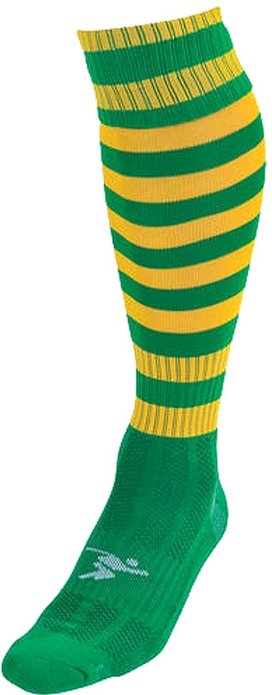 Precisionトレーニング1 – 1 Inch Hooped Pro Soccerスポーツストライプフットウェアソックス B0198MA41Uグリーン/ゴールド Mens