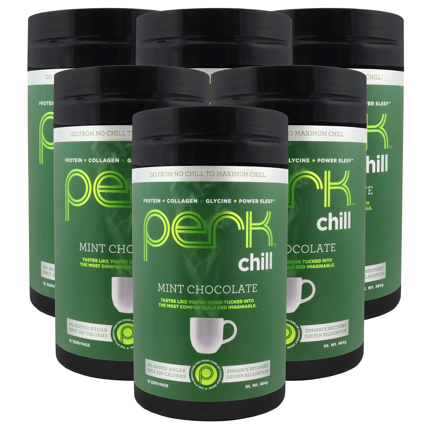 """Perk Chill – Mint Chocolate Flavored Beverage Mix with Zero added Sugar – Packed with Protein, Collagen, L-Glycine, and Power Sleep. You Can """"Chill"""" Out and Relax with This Delicious Hot Drink. 6 Pack"""