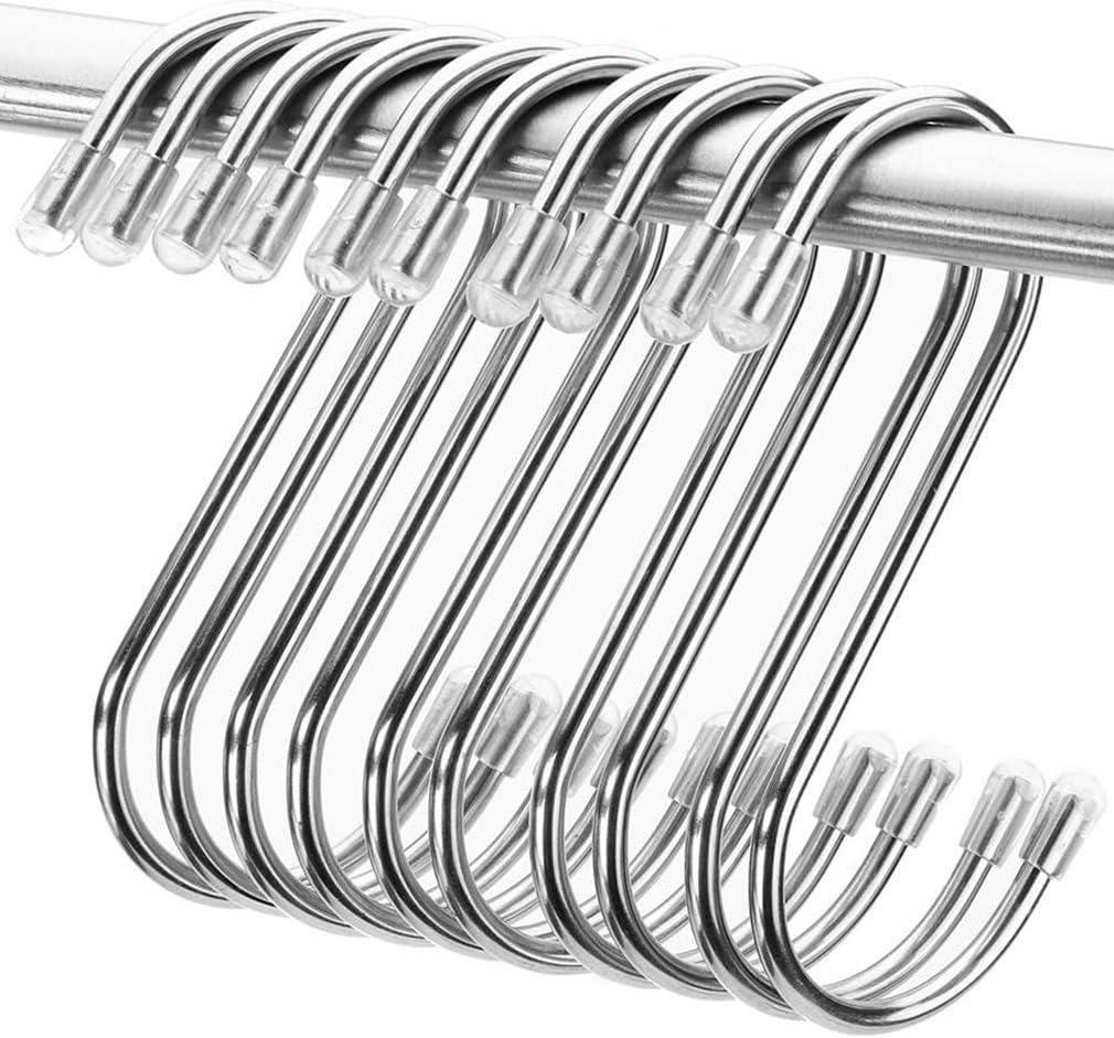 S Ganchos Cocina Metal Acero Inoxidable Ganchos para el Gabinete de la Cocina Oficina Dormitorio Ba/ño con Dise/ño de Apertura Apretada Plata S Hook Ganchos en Forma de S 8 PCS Ganchos para Colgar