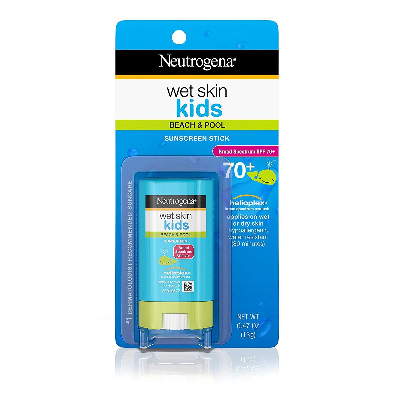 Neutrogena Wet Skin Kids Water Resistant Sunscreen Stick for Face and Body, Broad Spectrum SPF 70, 0.47 oz JJ-2217