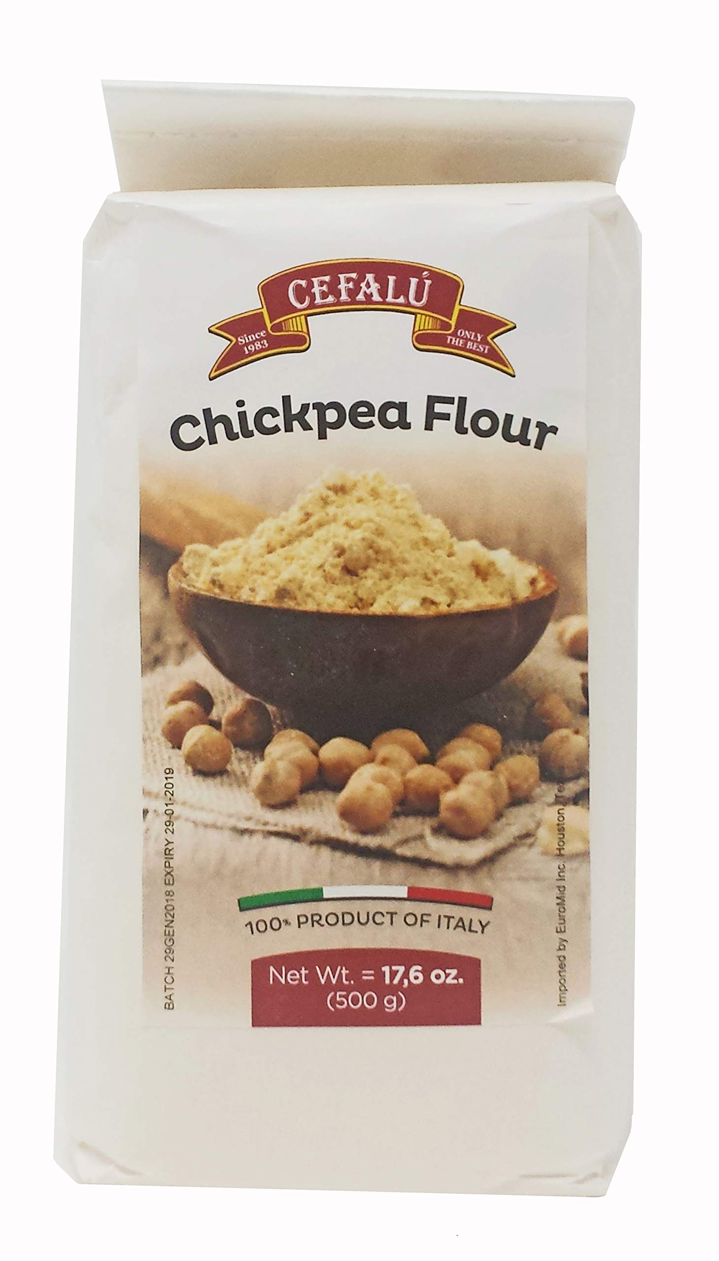 Cefalu Chickpea Garbanzo Bean Flour Pack of 3 (17.6 Ounces Each Bag) Product of Italy, Gluten Free