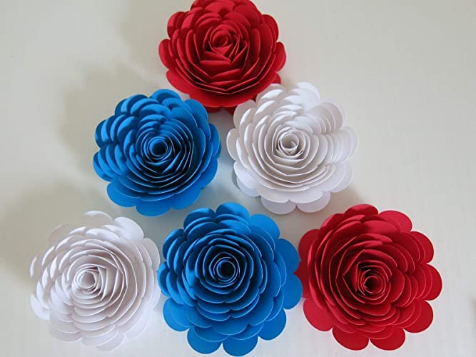 Amazon Red White And Blue Paper Flowers 3 Roses Set Of 6