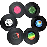Txian 6PCS Retro Vinyl Cup Mat LP Record Style Coaster Non-slip Insulated Coffee Drink Mat