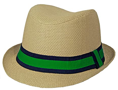 37af7f104176d7 Amazon.com: Unisex Kids Straw Fedora with Green Band (Natural Color ...