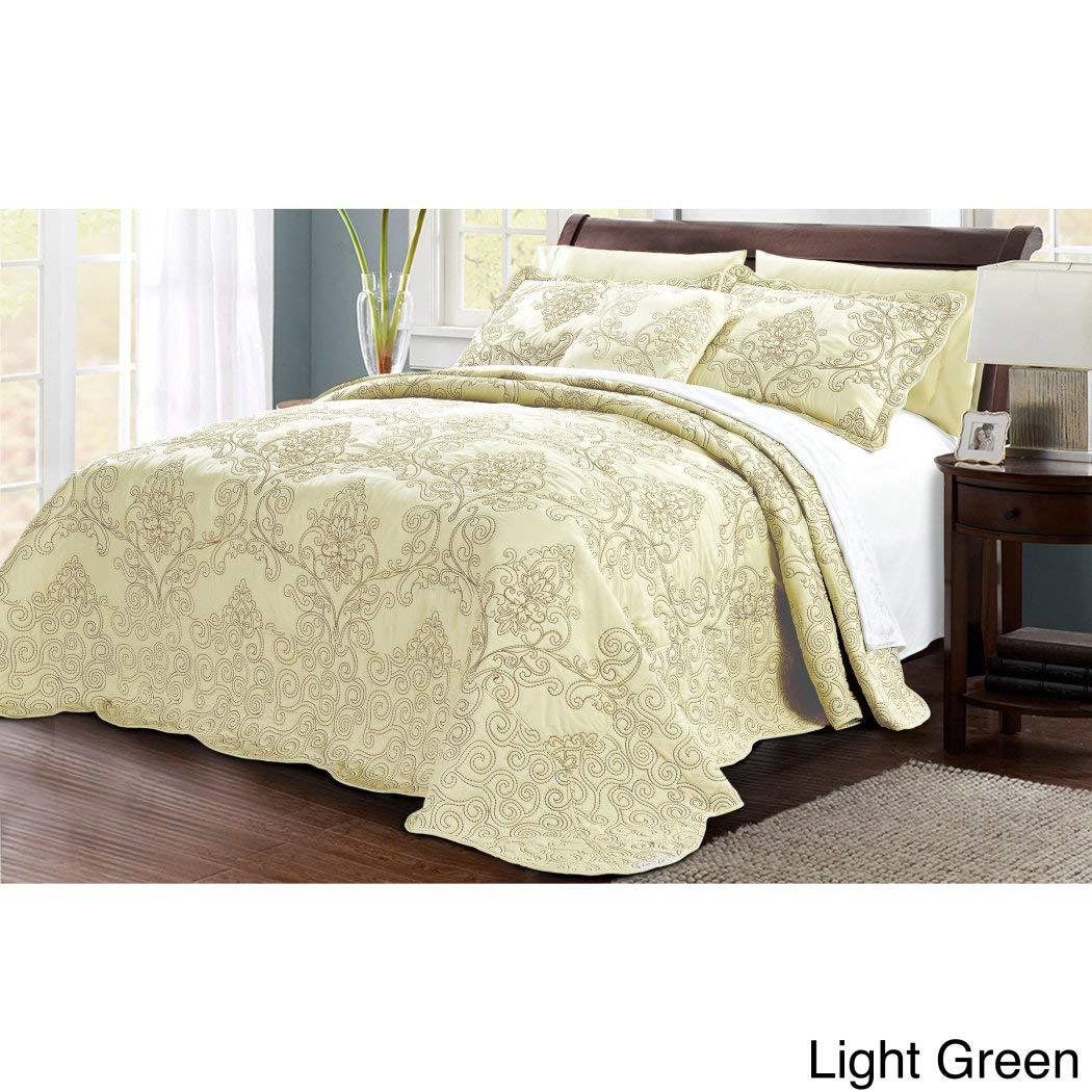 4ピースグリーンOversizedダマスクベッドスプレッドセットキング、フランス国シックな花柄パターン高級ベッド、床にDrapes OverエッジスカラップエッジExtra Long、マイクロファイバーポリエステル B077J9ZZQR