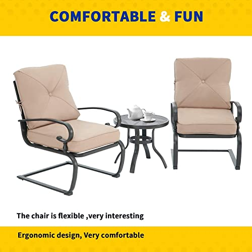 Crownland 3 Piece Patio Furniture Outdoor Bistro Set Metal Action Lounge Cushioned Chairs and Bistro Round Table Set