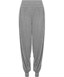 WearAll Women's Plus Size Plain Harem Trousers Pants - Light Grey - US 12-14 (UK 16-18)