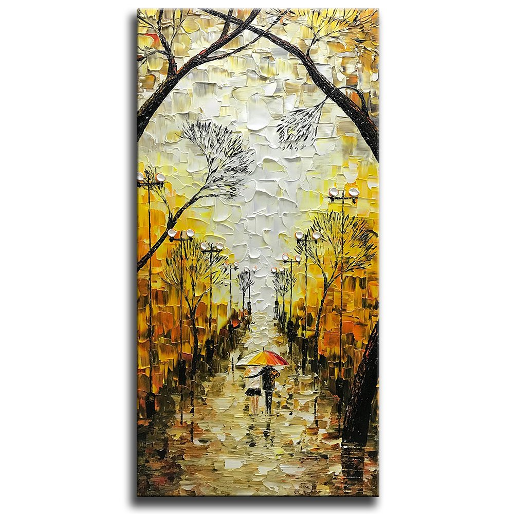 Amazon.com: Asdam Art-Large Vertical Artwork 100% Hand Painted Oil ...