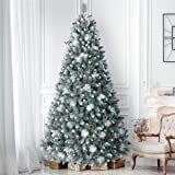 ANOTHERME 9ft Pre-Lit Pine Christmas Tree, 800 Warm Lights UL Certified, Pine Cones &Berries Hinged Artificial Trees…