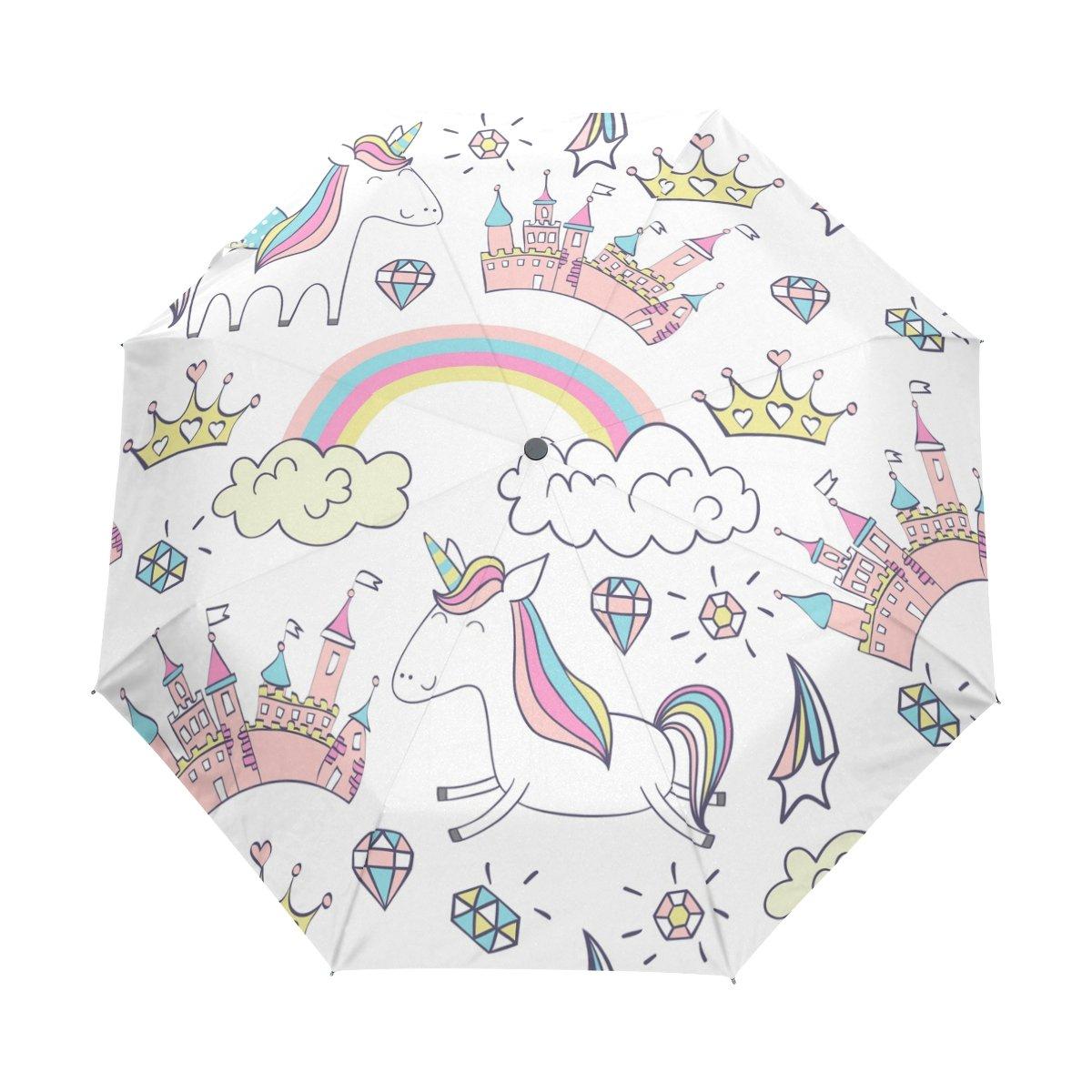 Senya Saobao防風と防雨トラベル傘with自動開いて閉じFolding Magicかわいいユニコーンポータブル折りたたみ式太陽雨傘 B07FD2HBH5