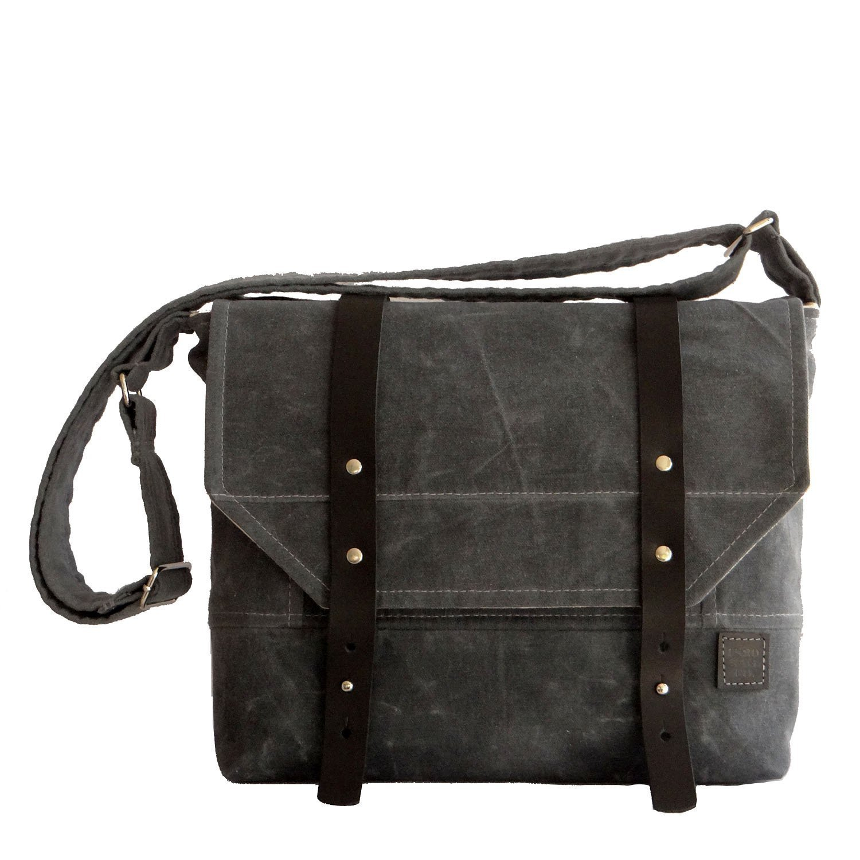 Men/'s Gifts Waxed Canvas Bag Gifts for Men Gray Waxed Canvas Bag Field Bag Waxed Canvas Field Bag Mens Messenger Bag Laptop Mens Bag