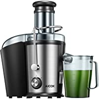 Juicer Machine Aicok Juice Extractor, 800W Centrifugal Juicer with 75MM Wide Mouth, Dual Speed Stainless Steel Juicer with Anti-drip Mouth, Non-Slip feet, BPA Free