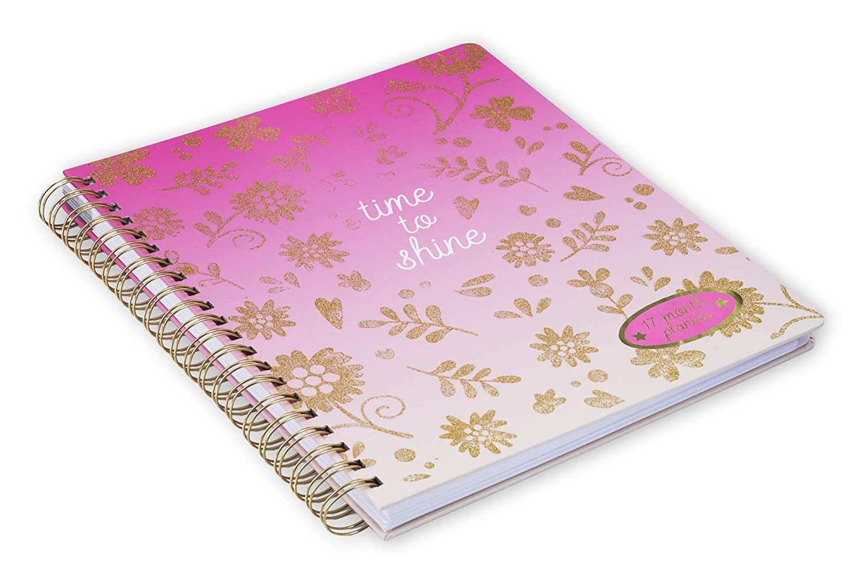 pink floral Copertina Rigida Resistente Elegante Cover Decorata Agenda 17 Mesi 2020 Giornaliera con Planner Settimanale Tri-Coastal Design