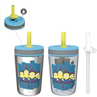 Zak Designs Minions Movie Kelso Tumbler 3pc Set, Leak-Proof Screw-On Lid with Straw, Bundle for Kids Includes Plastic…
