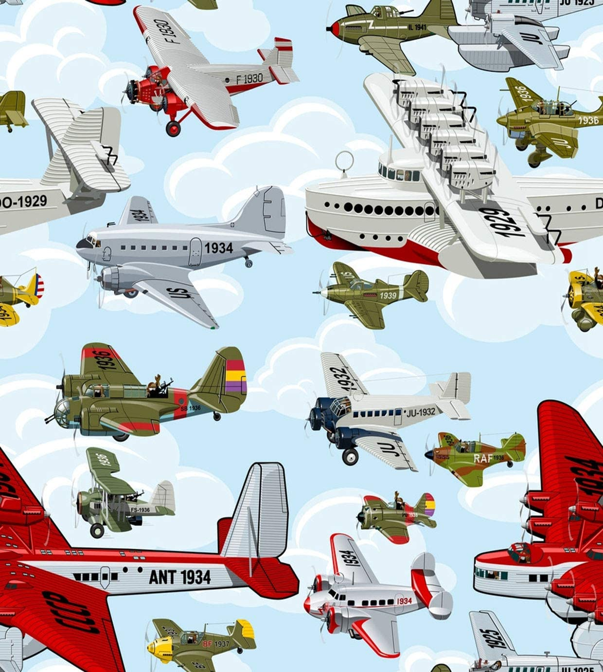 Eaiizer Airplane Poster Cartoon Retro Airplanes 1930S Clouds Wall Art Print Artwork for Home Bedroom Office Dorm Decor Unframed Painting 24x36 Inches