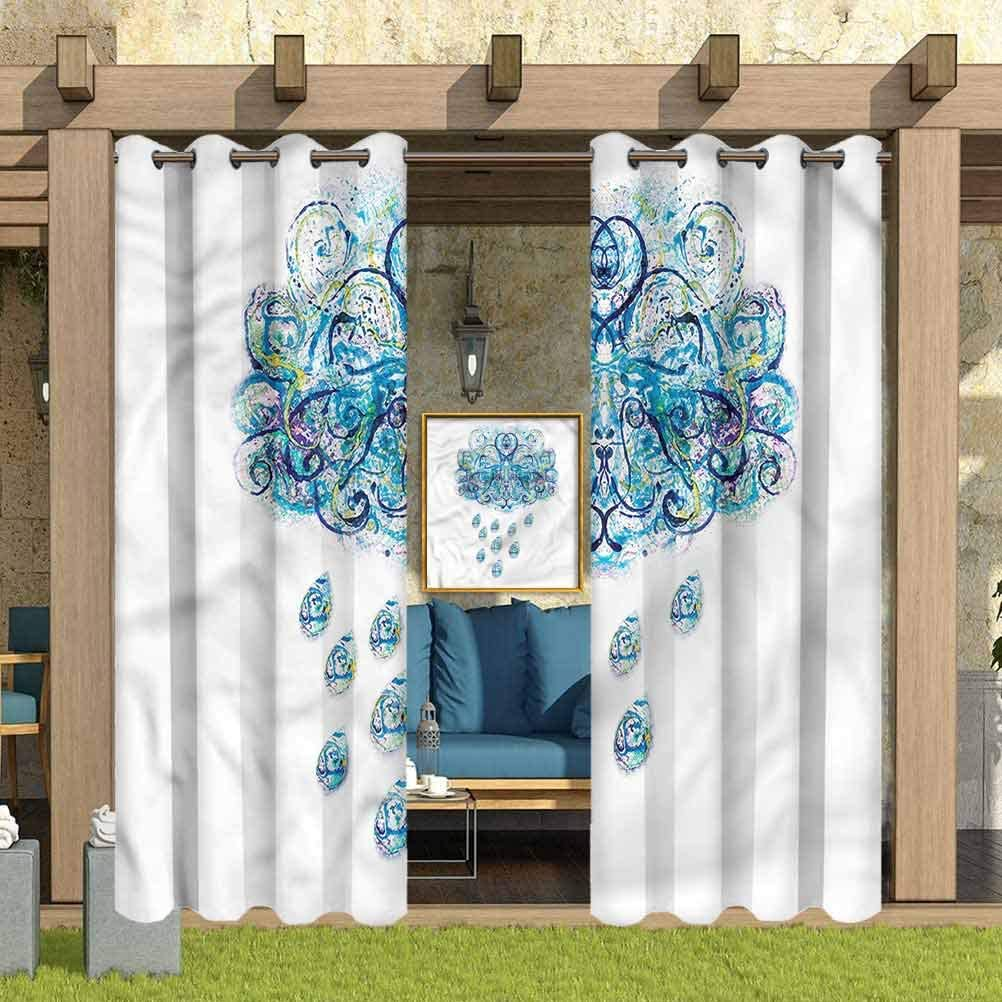 """ParadiseDecor Nature Indoor/Outdoor for Garden Drapes Porch Gazebo Curtains Rainy Weather Abstract 100"""" W x 84"""" L"""