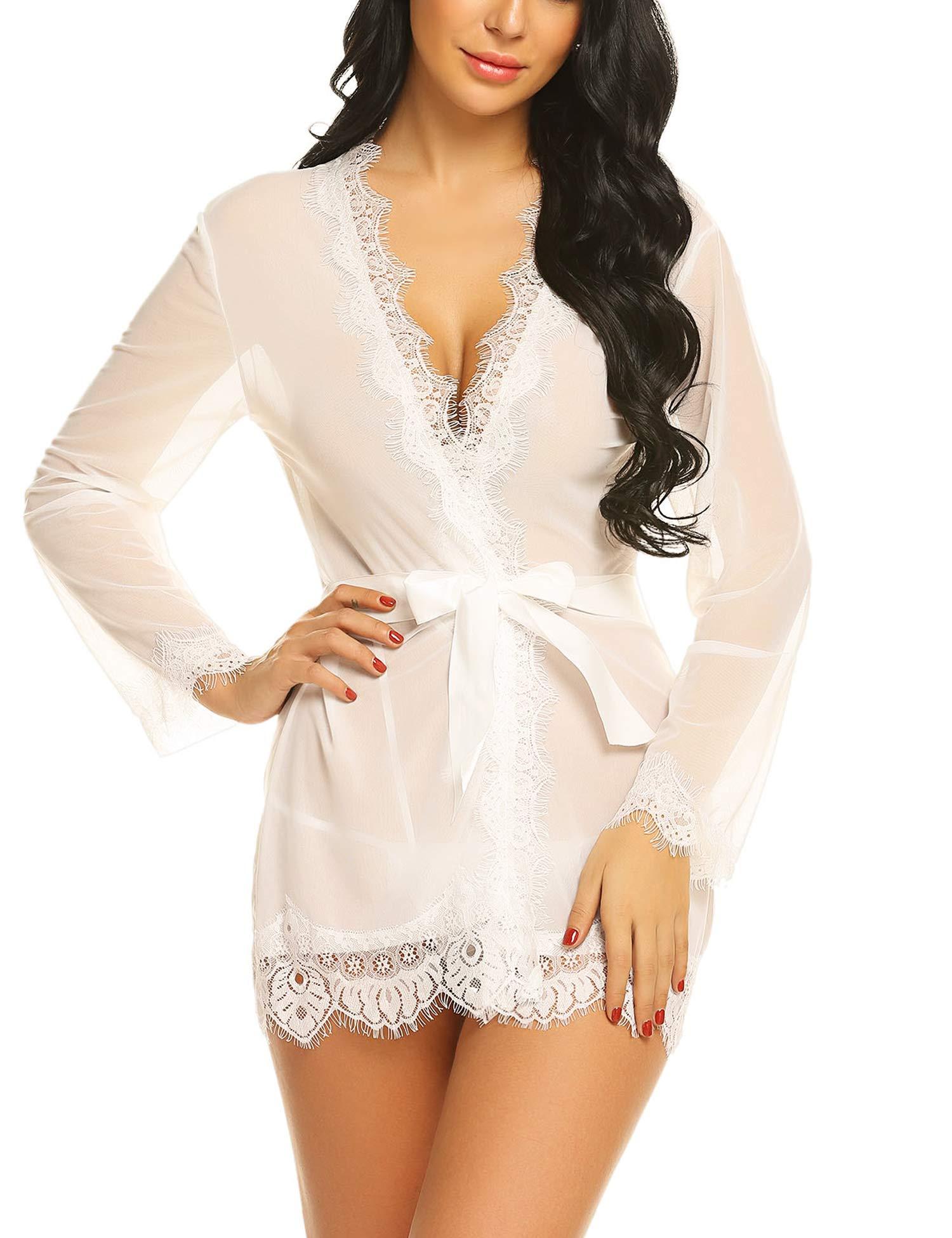 Avidlove Women's Lace Kimono Robe Mesh Babydoll Lingerie Chemise White XXL