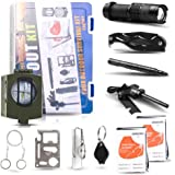 Emergency Survival Kit - Exqline 12 in 1 Professional Outdoor Survival Gear for Hiking Camping Hunting with Military Compass Survival Knife Fire Starter Whistle Flashlight Tactical Pen etc