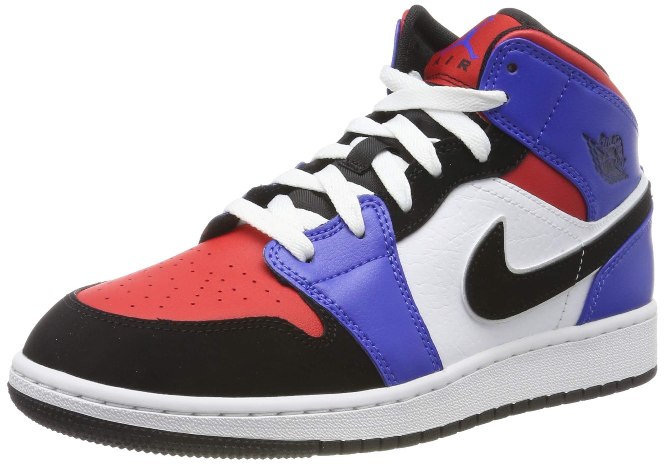 Nike Boy's Air Jordan 1 Mid (GS) Shoe White/Black-Hyper Royal/University Red, Size 3.5 M US Big Kid