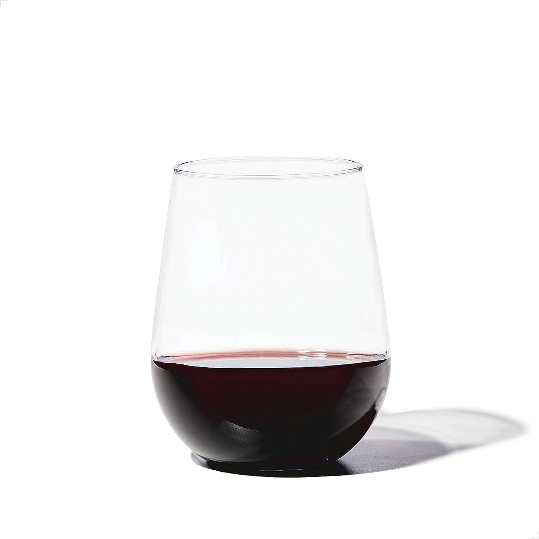 TOSSWARE 16oz Stemless Wine SET OF 4, Tritan Dishwasher Safe & Heat Resistant Unbreakable Plastic Drinking Glasses
