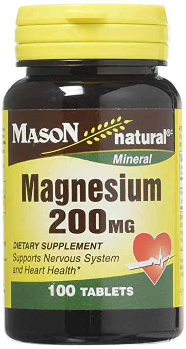 Mason Vitamins Magnesium 200 mg Tablets,100 Count