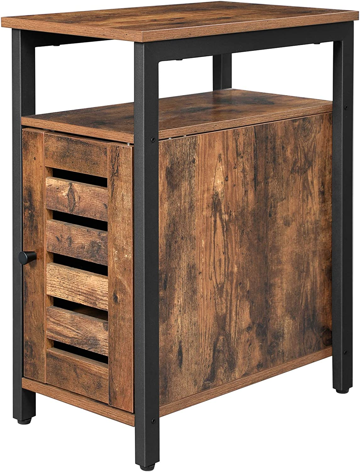 VASAGLE Lowell Side Table, Multipurpose Storage Cabinet with Open Shelf, Inner Adjustable Shelf, Steel Frame, Living Room Office, 11.8 x 19.7 x 23.6 Inches, Industrial Style, Rustic Brown ULET61BX