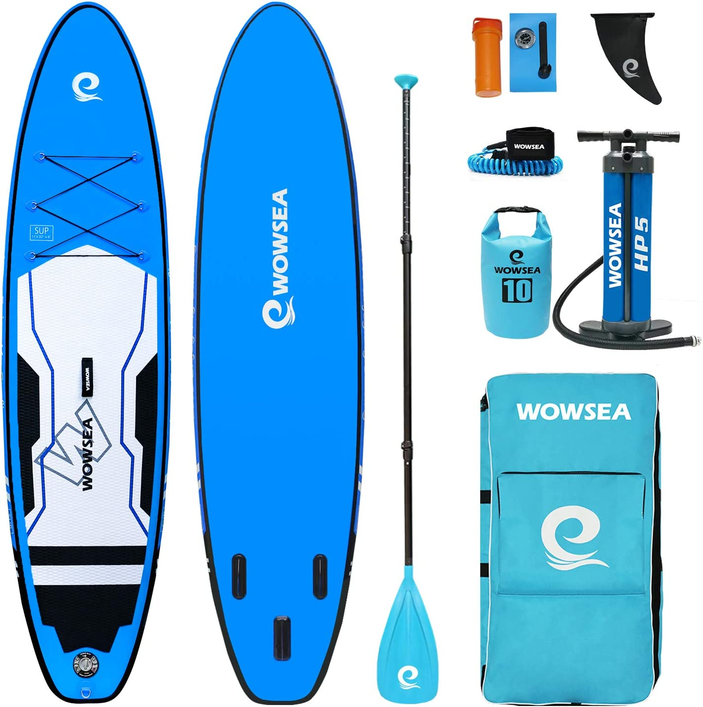 "WOWSEA Cruise Inflatable Stand Up Paddle Board | 11' Long x 32"" Wide x 6"" Thick 