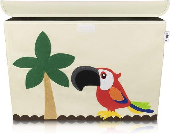 Image of Lifeney baul juguetes infantil 51 x 36 x 36 cm I Caja con tapa para la habitación de los niños I almacenaje juguetes I caja juguetes almacenaje I baules infantiles (Loro)