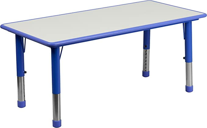 Flash Furniture 23 625 W X 47 25 L Rectangular Blue Plastic Height Adjustable Activity Table With Grey Top Furniture Decor Amazon Com