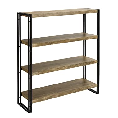 FIVEGIVEN 4 Shelf Bookcase with Open Storage Book Shelves Rustic Industrial Metal, Sonoma Oak