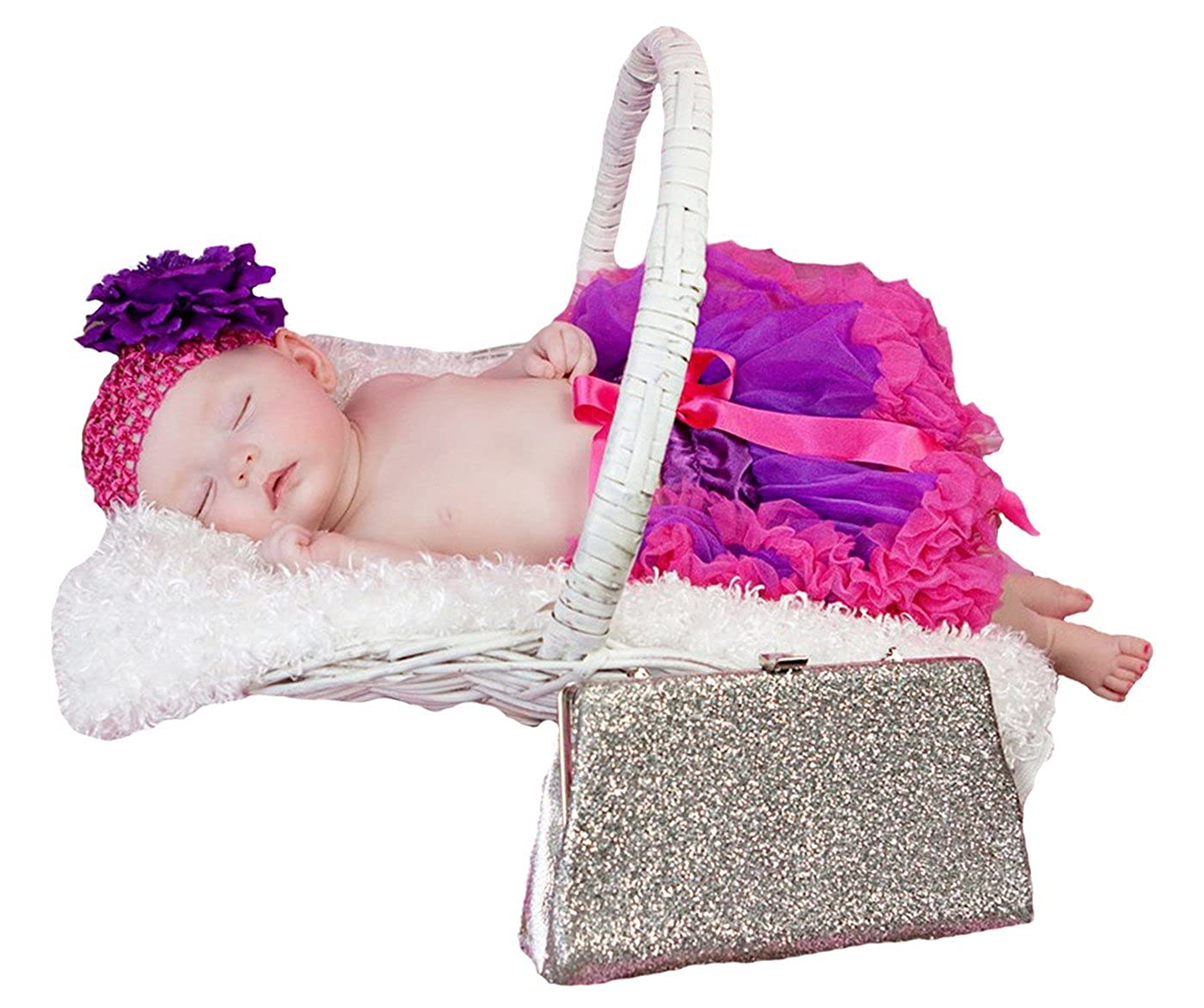 Purple and Hot Pink Newborn Baby Skirt Tutu Girl Clothing Headband Set Nb-12m