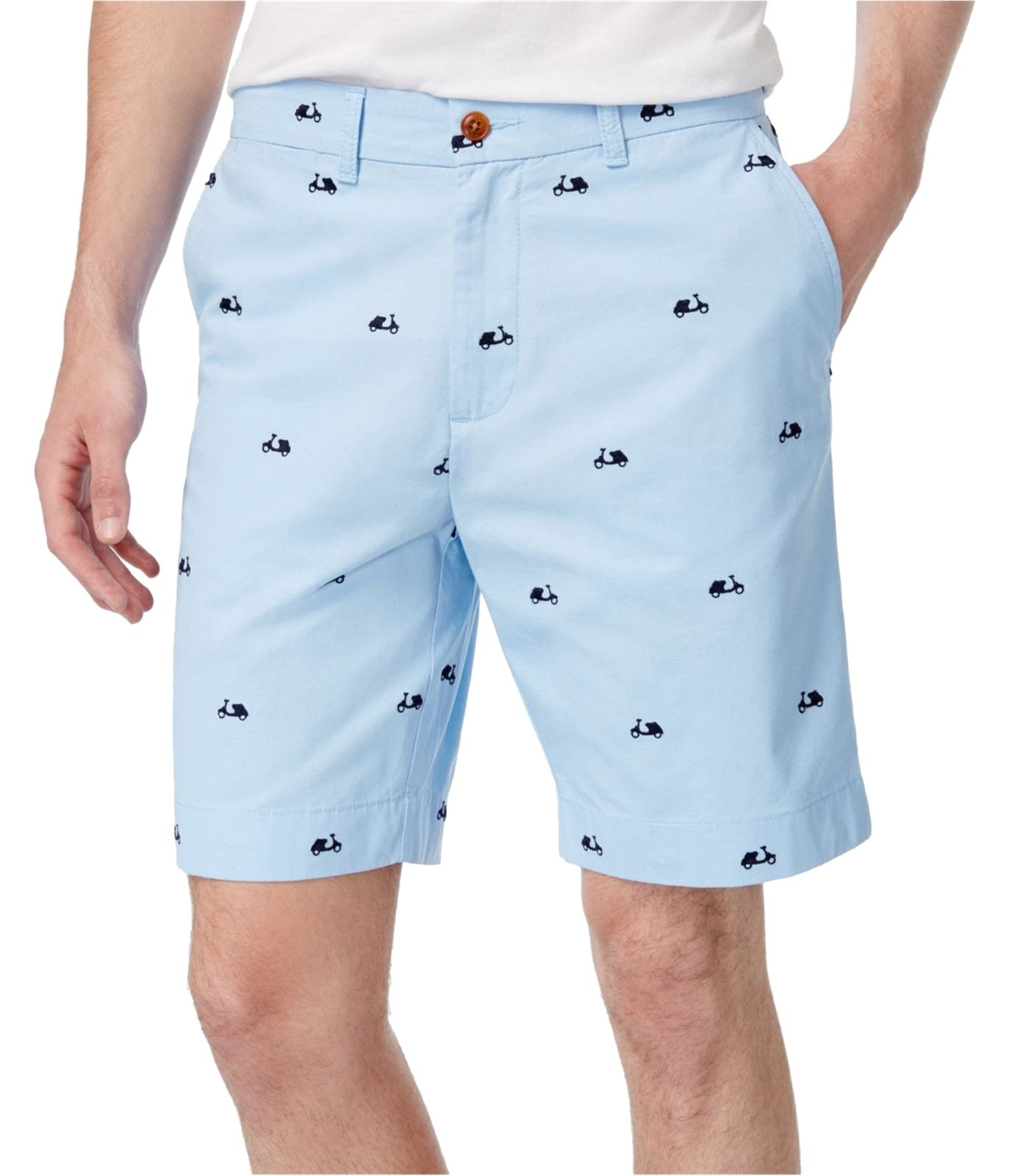 Tommy Hilfiger Mens Embroidered Flat Front Casual Shorts Blue 40