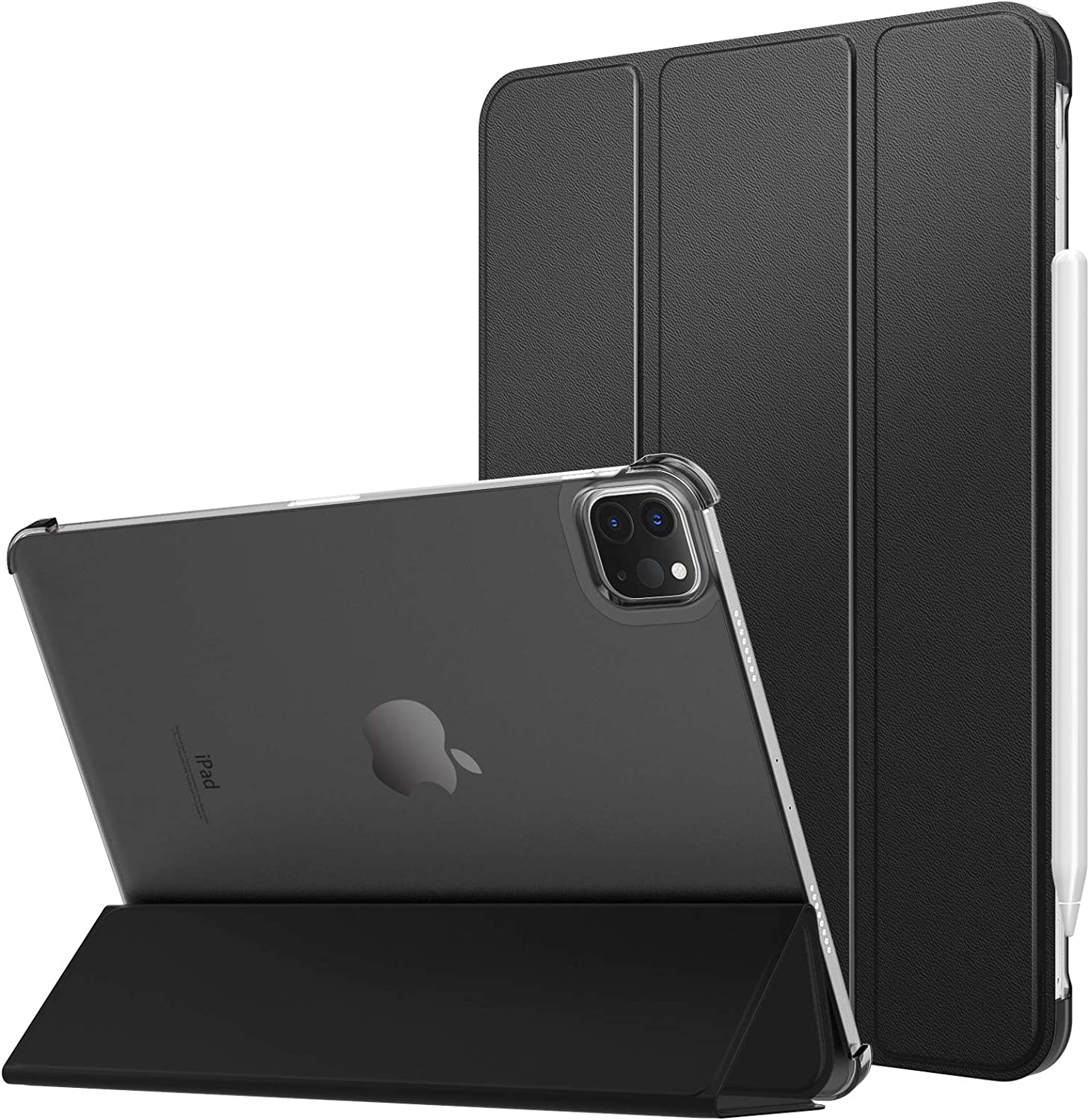 MoKo Case Fit iPad Pro 12.9 Inch Case 2021(5th Gen), [Support Apple Pencil Charging] Ultra Slim Translucent Hard Back Shell Protective Smart Cover Fit iPad Pro 12.9