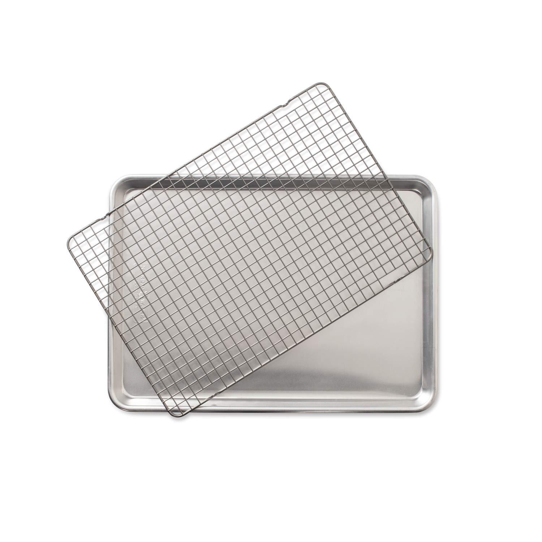 Nordic Ware 43172 2 - Piece Set - Half Sheet W/Oven Safe Nonstick Grid, Aluminum