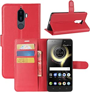 Lenovo K8 Note Case, Fettion Premium PU Leather Wallet Flip Phone Protective Case Cover with Card Slots and Magnetic Closure for Lenovo K8 Note Smartphone (Wallet - Red)