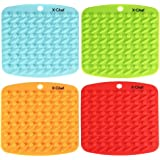 X-Chef Silicone Kitchen Trivet Mat Pot Holder Hot Pads Insulated Non Slip Flexible Durable Dishwasher Safe Heat Resistant Set of 4