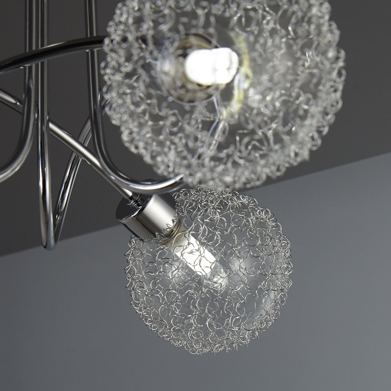 LED ceiling lamp I pivotable I metal glass design in chrome I round glass ornaments I warm white I 3 x 3,5 W illuminants I 230 V I G9 I IP20 [Energy Class A+] B.K.Licht BKL1038